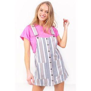 Francesca's Striped Overall Dress